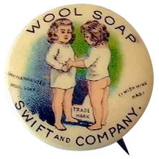 1890s Tin Pinback Button Swift and Company Wool Soap Great Graphics