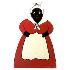1930s-40s Hand Painted Black Americana Wood Mammy