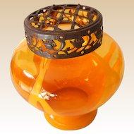 Marked Orange Czechoslovakian Art Glass Vase with Flower Frog
