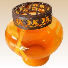 Marked Orange Czechoslovakian Art Glass Vase with Flower Frog
