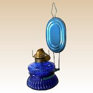 Small Cobalt Blue Oil Lamp With Tin Reflector