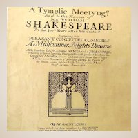 """1916 Program Booklet Shakespeare Play """"A Midfommer Nights Dreame"""""""