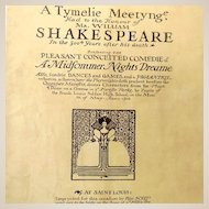"1916 Program Booklet Shakespeare Play ""A Midfommer Nights Dreame"""