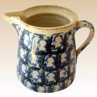 Mid 1800s Ironstone Spongeware Pottery Milk Pitcher