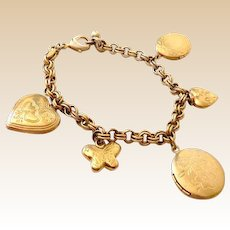 Vintage Gold Tone Charm Bracelets With Lockets