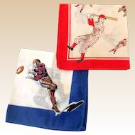 (2) Childrens Hankies Sports Baseball Football Basketball