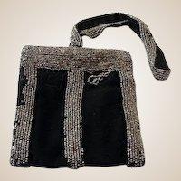Victorian Beaded Wristlet Dance Purse Black Satin