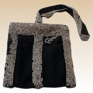 Victorian Beaded Wristlet Dance Purse Black Satin