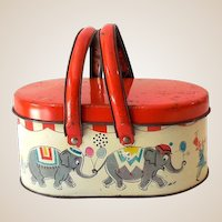 Scarce  Tin Litho Picnic Basket Style Lunchbox Circus