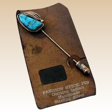 Sterling Silver & Turquoise American Indian Stick Pin