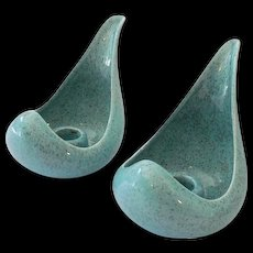 Pair Fabulous Mid Century Modern Red Wing Candle Holders Aqua