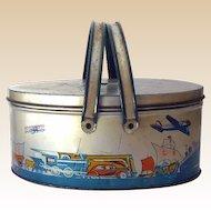 Vintage Ohio Art Tin Litho Picnic Basket Style Lunchbox Cars Trains Airplanes Etc