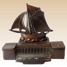 Vintage Signed Bronze Double Inkwell Sailing Ship L.L. France