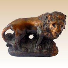 Vintage Bronzed Metal Lion Figurine