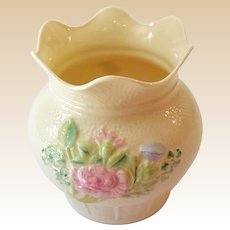 Lovely Belleek Ireland Basket Style Vase With Pink Flowers