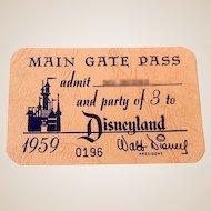 RARE 1959  Disneyland Main Gate Annual Family Pass