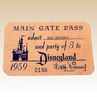 RARE 1959  Disneyland Main Gate Annual Family Pass