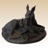 Gorgeous Signed Solid Bronze Mother Deer and Her Fawn