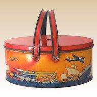 Ohio Art Tin Litho Picnic Basket Style Lunchbox Cars Trains Airplanes Etc