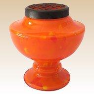Vintage Orange Czechoslovakian Art Glass Vase With Brass Flower Frog Top