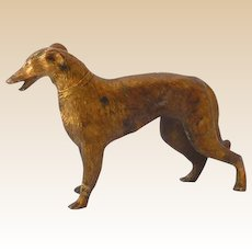 Solid Brass Metal Art Deco Russian Wolfhound Statue