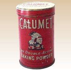 Vintage Calumet Baking Powder Tin Great Graphics Indian Chief