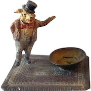 Rare 1920s Figural Metal Bobblehead Ashtray Well Dressed Gentleman Pig