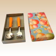 1930s Child's Spoon & Fork Set in Box Bakelite Handles