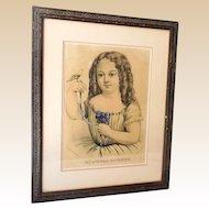 "Large 1870s Currier & Ives Folio Print ""My Little Favorite"" Little Girl & Bird"