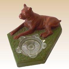 1940s Chalkware Boxer Dog Ashtray