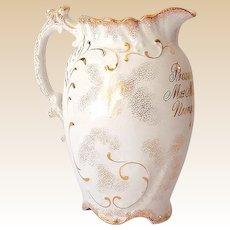 """Porcelain Award Presentation Pitcher """"Nurse Gruline"""" Dated 1899"""