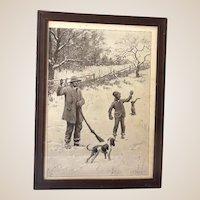 Early A.B. Frost Print Black Americana Rabbit Hunt