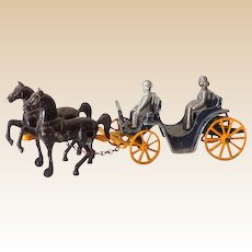 Scarce 1940s Stanley Toys Cast Iron Horse Drawn Carriage