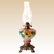 Gorgeous Hand Painted Antique Victorian Full Size Oil Lamp