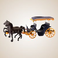 Scarce 1940s Stanley Toys Cast Iron Horse Drawn Carriage With Surrey