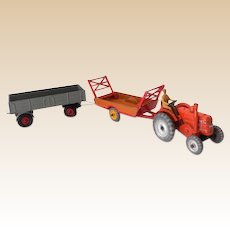 Hard to Find Dinky Toys Tractor Wagon and Stake Cart
