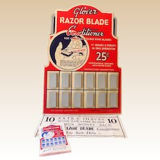 1940s Store Display Glover Razor Blade Conditioning Stones Complete