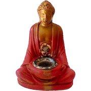 Vintage 1930s Chalkware Buddha Incense Burner