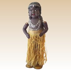 1920s-30s Wind Up Tin & Celluloid Hula Girl Dancer