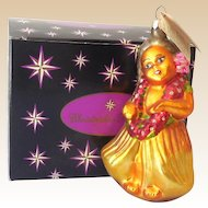 Retired Christopher Radko Blown Glass Hula Girl Ornament in Box