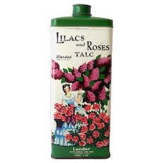 Large Lander Lilac and Roses Talcum Powder Tin Nice Graphics