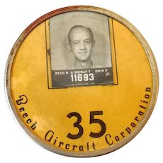 Vintage Employee Photo Identification Badge Aviation 1930s