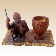 Gorgeous Antique Metal Sculpture Figural Match Holder or Incense Burner