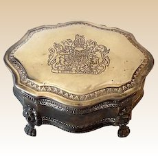 Larger Vintage Silverplated Lidded Dresser Vanity Jewelry Box