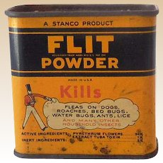 Vintage Flit Powder Advertising Tin Kills Pests