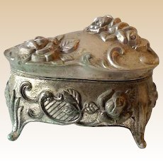 Lovely Vintage Metal Lidded Dresser Vanity Jewelry Box
