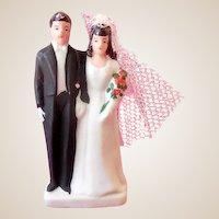 1940s Bisque Wedding Cake Top Bride & Groom New Old Stock