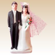 1940s Bisque Wedding Cake Top Bride & Groom New Old Stock