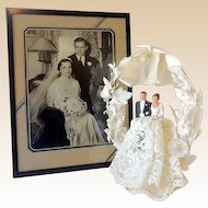1940s Wedding Cake Top and Original Framed Wedding Photo
