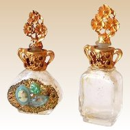 (2) Miniature Ornate Perfume Bottles w/ Gold Filled Caps Adrian USA